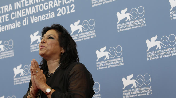 Director Mira Nair poses during the photo call for her movie 'The reluctant Fundamentalist' at the 69th edition of the Venice Film Festival in Venice, Italy, Wednesday, Aug. 29, 2012. (AP Photo/Andrew Medichini)
