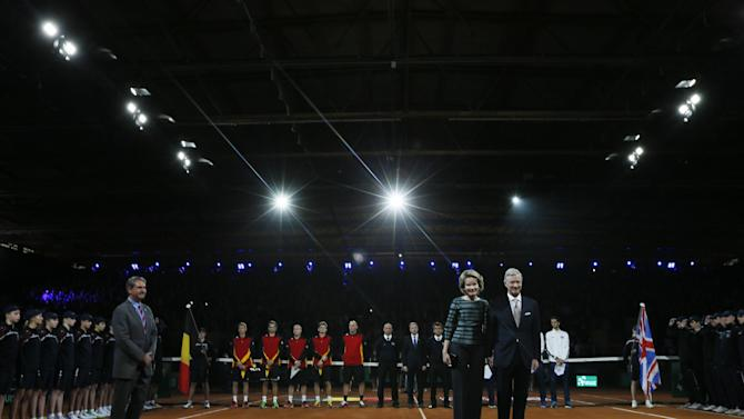 Men's Singles - Queen Mathilde of Belgium and King Philippe of Belgium before the match between Great Britain's Kyle Edmund and Belgium's David Goffin