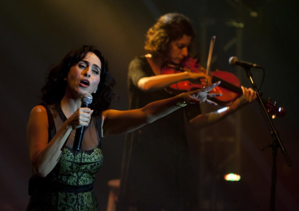 In this Saturday, June 16, 2012 photo, Rita, an Israeli singer of Iranian descent, performs in the city of Ashdod, Israel. Rita recently released an album entirely in the language of Israel's arch-enemy Iran, raising more than a few eyebrows in the country.(AP Photo/Ariel Schalit)