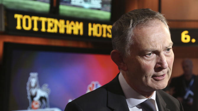 Richard Scudamore, chief executive of the English Premier League,  speaks during an interview at NBC studios on Tuesday, April 16, 2013 in New York.  Scudamore and NBC executives announced that all 380 English Premier League games will be televised live by NBC and its networks next season as part of a multiyear contract.  The telecasts begin Aug. 17 and will be carried on NBC, NBC Sports Network, Telemundo, Mun2 and various digital outlets.  (AP Photo/Bebeto Matthews)