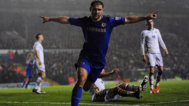 Branislav Ivanovic was on target with Chelsea's second goal in the victory over Leeds