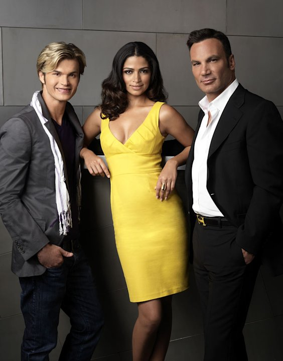 "Judge Kim Vo, host Camila Alves, and judge Jonathan Antin on season 3 of ""Shear Genius."""