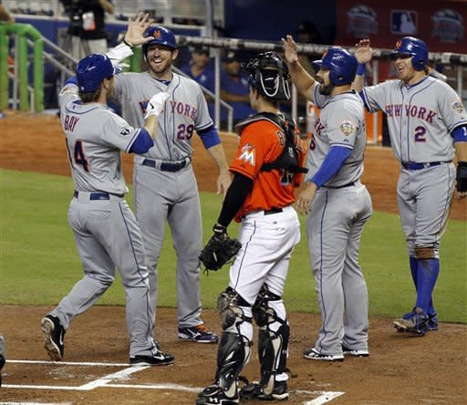 Bay's slam lifts Mets over Marlins 5-1