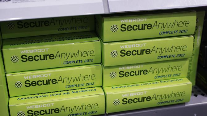 Webroot's SecureAnywhere Complete 2012 software for computer security on display at Best Buy in Mountain View, Calif., Friday, July 6, 2012. Despite repeated alerts, tens of thousands of Americans may lose their Internet service Monday unless they do a quick check of their computers for malware that could have taken over their machines more than a year ago. The warnings about the Internet problem have been splashed across Facebook and Google. Internet service providers have sent notices, and the FBI set up a special website. (AP Photo/Paul Sakuma)