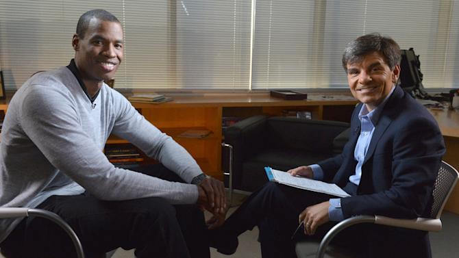 """In this photo provided by ABC, NBA basketball veteran Jason Collins, left, poses with George Stephanopoulos during an interview, Monday, April 29, 2013, in Los Angeles. In a first-person article posted Monday on Sports Illustrated's website, Collins became the first active player in one of four major U.S. professional sports leagues to come out as gay. The interview aired on """"Good Morning America"""" on Tuesday. (AP Photo/ABC, Eric McCandless)"""