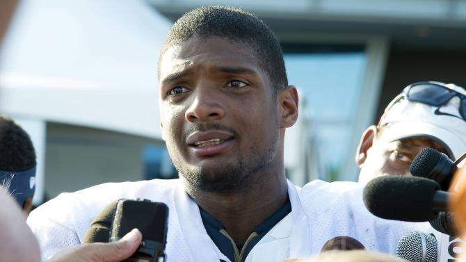 File photo of St. Louis Rams' Michael Sam addressing a news conference in St Louis
