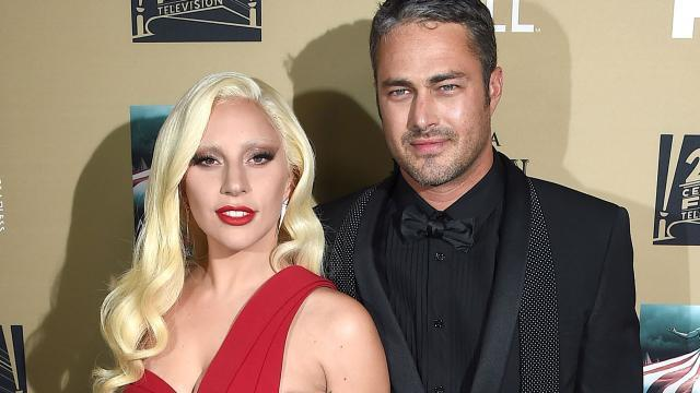 Lady Gaga Makes Red Hot Rare Appearance With Fiancé Taylor Kinney at 'American Horror Story' Premiere