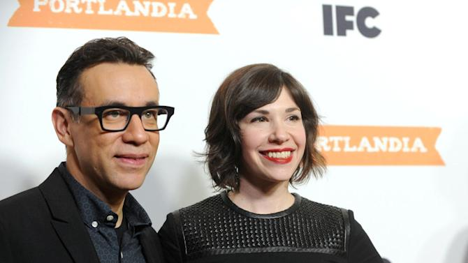 IMAGE DISTRIBUTED FOR IFC - Co-creators and stars of IFC's Portlandia, Fred Armisen and Carrie Brownstein, celebrate the premiere of season 3 at the American Museum of Natural History on Monday, Dec. 10, 2012, in New York. The new season premieres on IFC on Jan. 4 at 10pm ET/PT. (Diane Bondareff/Invision for IFC/AP Images)