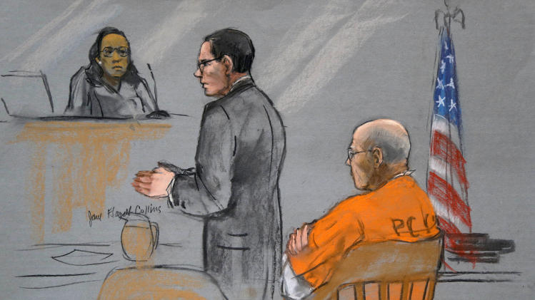 "A courtroom sketch depicts James ""Whitey"" Bulger, right, as his attorney Henry Brennan, center, speaks during a pretrial conference before U.S. District Judge Denise Casper, left rear, in a federal courtroom in Boston Monday, June 3, 2013. Bulger is charged with playing a role in 19 murders. (AP Photo/Jane Flavell Collins)"