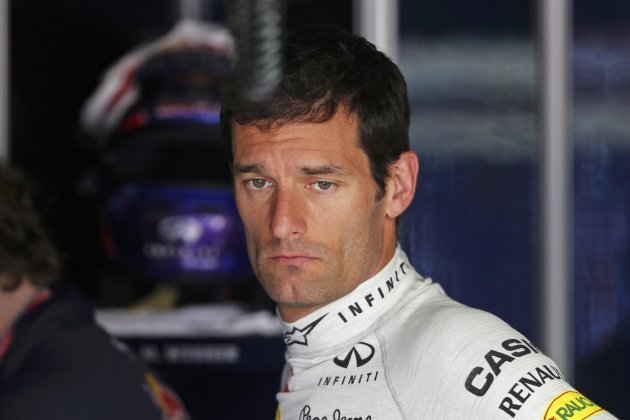 Red Bull Formula One driver Mark Webber of Australia looks on during the first practice session of the Monaco F1 Grand Prix