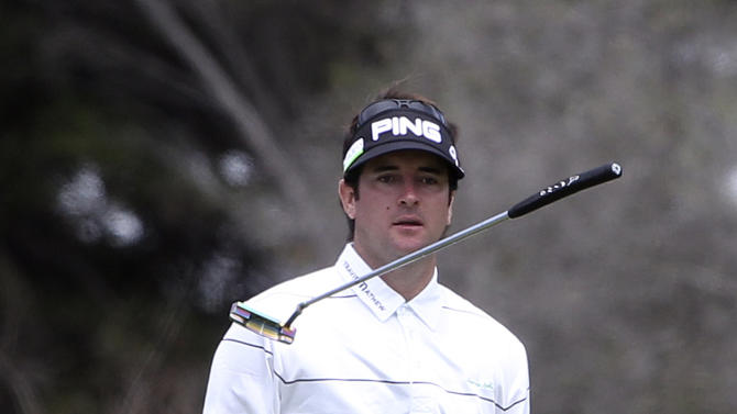 U.S. golfer Bubba Watson reacts to a missed putt on the 1st green during the second round of the Australian Open golf tournament in Sydney, Australia, Friday, Nov. 11, 2011. (AP Photo/Rob Griffith)