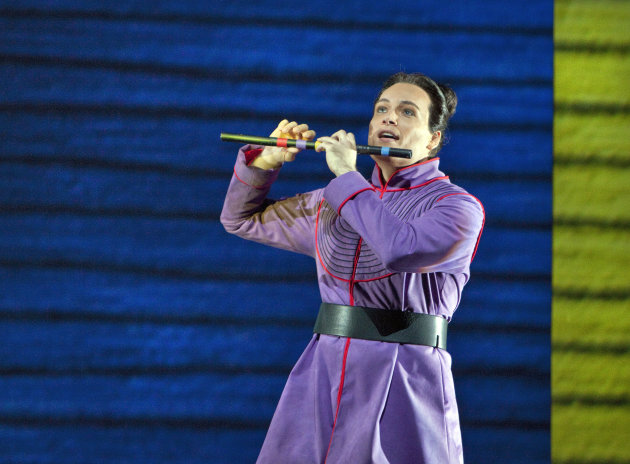 "In this June 10, 2012 handout photo provided by the San Francisco Opera, Alek Shrader as Tamino is shown during a scene from the final dress rehearsal of ""The Magic Flute."" The San Francisco Opera's s"