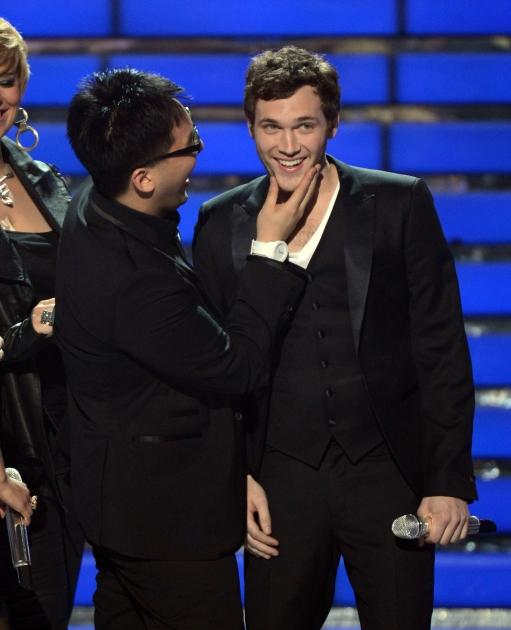 Heejun Han gives his pal, the new 'American Idol' Phillip Phillips onstage during FOX's 'American Idol 2012' results show at Nokia Theatre L.A. Live on May 23, 2012 -- Getty Images