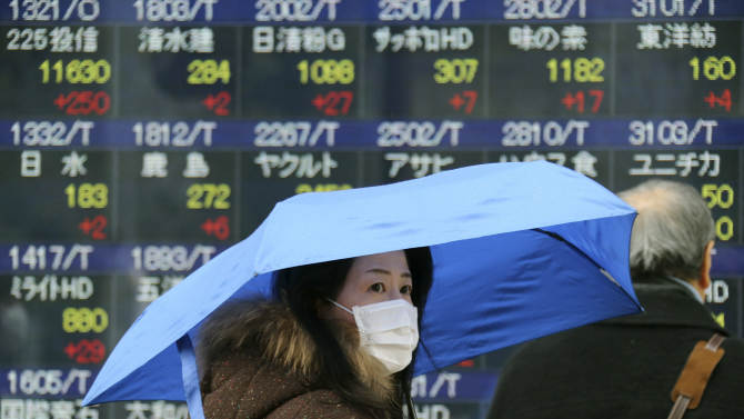 A woman walks by an electronic stock board of a securities firm in Tokyo, Monday,  Feb. 18, 2013. Japan's benchmark stock index jumped Monday after Group of 20 finance officials avoided directly criticizing Prime Minister Shinzo Abe's new government for trying to force down the yen. Other Asian stock markets were mixed. (AP Photo/Koji Sasahara)