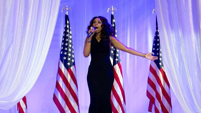 "FILE - In this Monday, Jan. 21, 2013,  file photo, Jennifer Hudson sings at the Inaugural Ball, in Washington, during the 57th Presidential Inauguration.  The NFL announced Thursday, Jan. 31, 2013, that Jennifer Hudson will join the chorus from Sandy Hook Elementary School to sing ""America the Beautiful"" before Sunday's Super Bowl game. (AP Photo/Carolyn Kaster)"