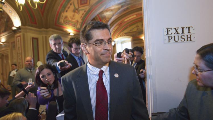 Supercommittee member Rep. Xavier Becerra, D-Calif. and other Democratic members of the supercommittee arrive for a closed-door meeting on Capitol Hill in Washington, Thursday, Nov. 17, 2011.  (AP Photo/J. Scott Applewhite)