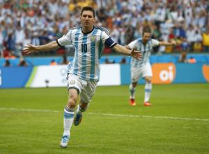 Argentina's Messi celebrates after scoring against Nigeria during their 2014 World Cup Group F soccer match at the Beira Rio stadium in Porto Alegre