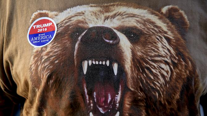 "An image of a bear is seen on the clothing of Republican U.S. presidential candidate Donald Trump supporter Ray ""Bear"" McCook, as he makes his way into the Macon Coliseum before a Trump for President campaign rally in Macon"