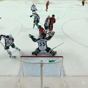 Russell blasts one past Giguere on a screen