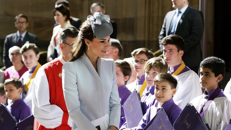 Britain's Catherine, Duchess of Cambridge, greets members of the choir at an Easter Sunday Service in Sydney