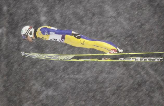 Yoshito Watabe of Japan jumps at the large hill during the FIS Nordic Combined World Cup competition in Lillehammer