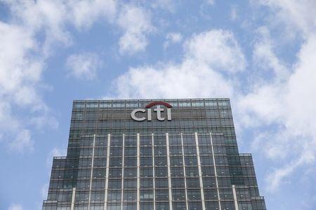 A Citigroup office is seen at Canary Wharf  in London