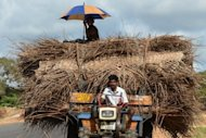Sri Lankan Tamil farmers ride on a tractor in the former war zone district of Mullaittivu on October 21. Sri Lanka has ordered the evacuation of thousands of residents ahead a cyclone expected to hit the island&#39;s north-eastern coast early Tuesday, the Disaster Management Centre (DMC) said
