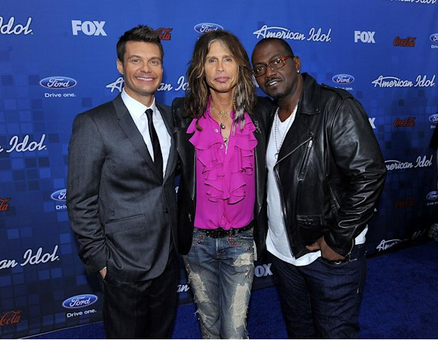 Ryan Seacrest, Steven Tyler, and Randy Jackson arrive at the &quot;American Idol&quot; Top 13 Finalists Party on Thursday, March 3, 2011 at The Grove in Los Angeles, CA. 