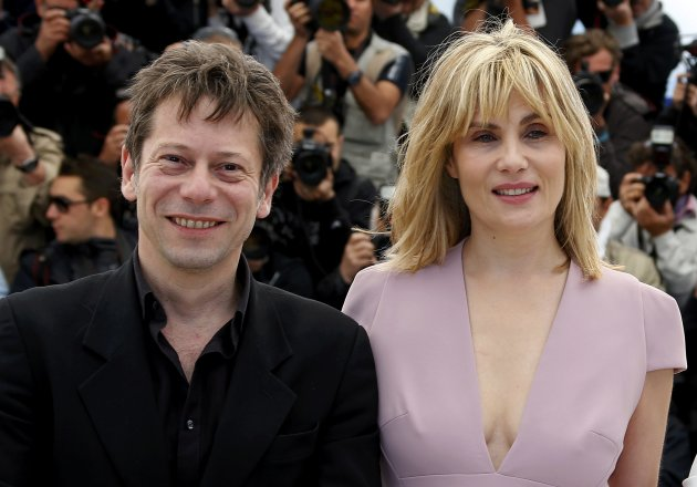 "Cast members Mathieu Amalric and Emmanuelle Seigner pose during a photocall for the film ""La Venus a la Fourrure"" at the 66th Cannes Film Festival"