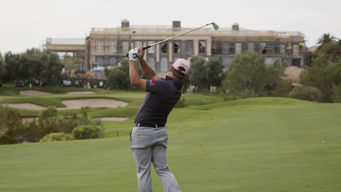 Ryan Moore hits off the third fairway during the second round of the Justin Timberlake Shriners Hospitals for Children Open golf tournament, Friday, Oct. 5, 2012, in Las Vegas. (AP Photo/Julie Jacobson)