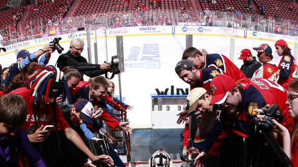 Goaltender Jose Theodore #60 Of The Florida Panthers Leads The Team Onto The Ice For The Warm Up Prior To The Game Getty Images