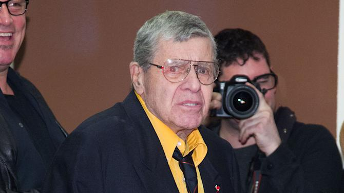 """Jerry Lewis attends """"The King Of Comedy"""" screening on Saturday, April 27, 2013 in New York. Lewis stars in the 1982 film with Robert De Niro and Sandra Bernhard.  (Photo by Dario Cantatore/Invision/AP )"""