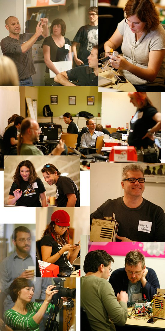 Montage of photos from Science Hack Day 2010, Palo Alto, California, event.