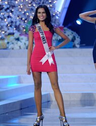 LAS VEGAS, NV - DECEMBER 19:  Miss Philippines 2012, Janine Tugonon, is introduced during the 2012 Miss Universe Pageant at PH Live at Planet Hollywood Resort & Casino on December 19, 2012 in Las Vegas, Nevada.  (Photo by David Becker/Getty Images)