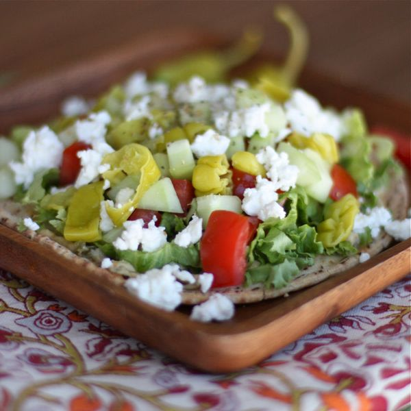 "Greek Salad Pita ""Pizza"""
