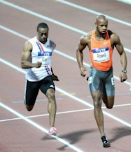 This file photo shows US&#39;s Tyson Gay (L) and Jamaica&#39;s Asafa Powell competing during the men&#39;s 100m event at the athletics Grand Prix final in Thessaloniki, in 2009. With 16 Olympic and 15 reigning World Champions taking to the track this Friday and Saturday in London there are plenty of intriguing events, but the main highlight will be the 100m clash between injury-prone duo Gay and Powell