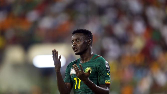 Salli of Cameroon reacts after missing a goal against Cameroon during their Group D soccer match of the 2015 African Cup of Nations in Malabo