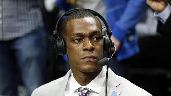 Boston Celtics guard Rajon Rondo, does TV commentary before an NBA basketball game in Chicago, Monday, March 31, 2014. The Bulls won 94-80