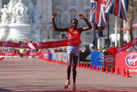 Priscah Jeptoo of Kenya wins the women's Elite London Marathon in central London