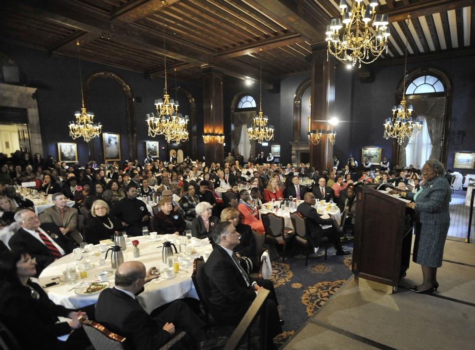Juanita Abernathy, the widow of civil rights leader Ralph Abernathy, speaks at the Union League Club of Chicago, Monday, Jan. 21, 2013, in Chicago. Abernathy was a friend of Martin Luther King. (AP Photo/Paul Beaty)