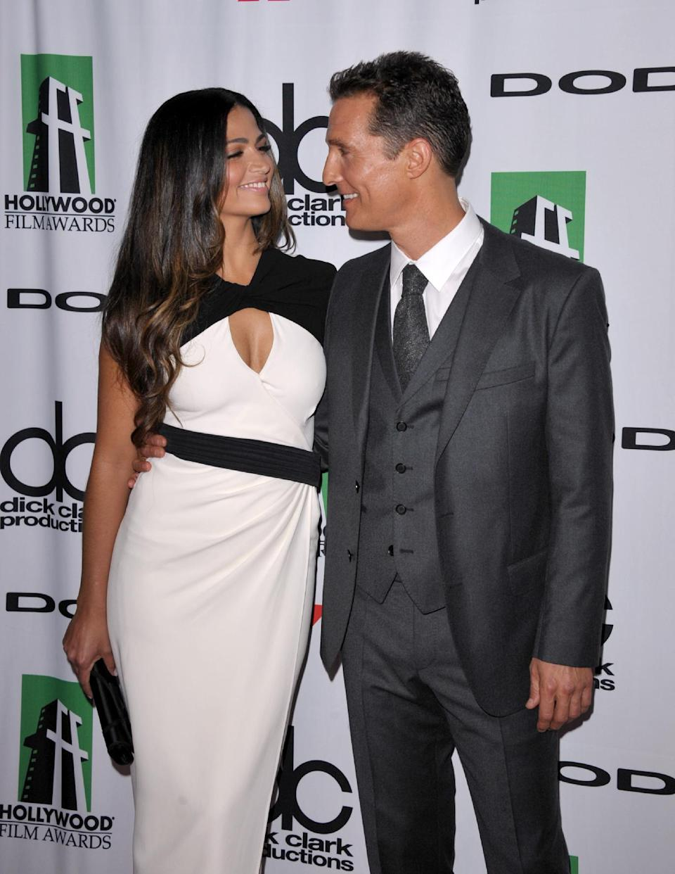 Camila Alves, left, and Matthew McConaughey arrive at the 17th Annual Hollywood Film Awards Gala at the Beverly Hilton Hotel on Monday, Oct. 21, 2013, in Beverly Hills, Calif. (Photo by John Shearer/Invision/AP)