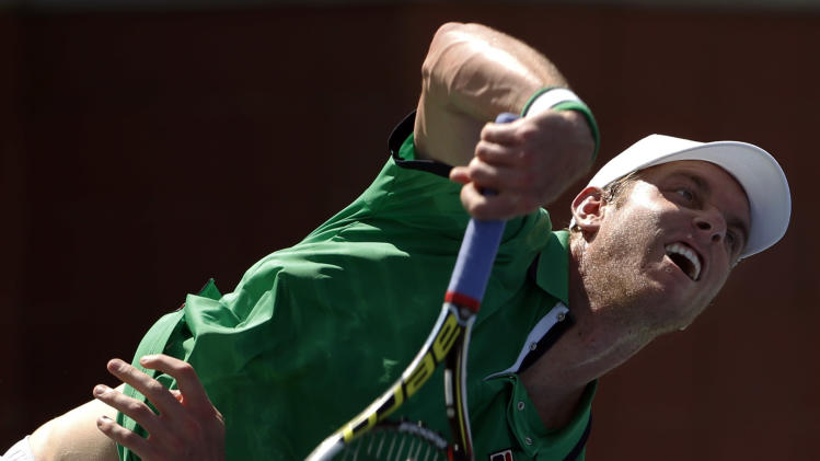 Sam Querrey, of the United States, serves against Guillermo Garcia-Lopez, of Spain, during the second round of the 2014 U.S. Open tennis tournament, Thursday, Aug. 28, 2014, in New York. (AP Photo/Kathy Willens)