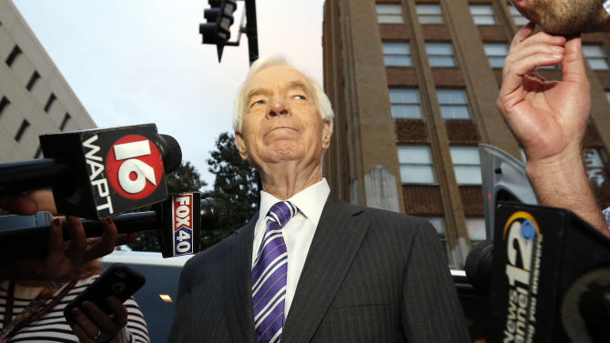 U.S. Sen. Thad Cochran, R-Miss., looks around downtown Jackson, Miss., following his appearance at a block party and support rally for him by the All Citizens of Mississippi, a political action committee that has bought ads promoting Cochran to black voters. Cochran faces three opponents in November's general election. The Mississippi Supreme Court affirmed a lower court's dismissal of Ellisville Republican state Sen. Chris McDaniel's challenge of his loss to incumbent Sen. Thad Cochran in the GOP primary, Friday, Oct. 24, 2014. A lower court had dismissed McDaniel's lawsuit, saying he waited to long to file his challenge of the election. (AP Photo/Rogelio V. Solis)