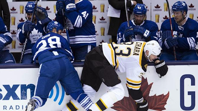 Toronto Maple Leafs forward Colton Orr, left, hits Boston Bruins defenseman Zdeno Chara, right during the second period of Game 4 of their NHL hockey Stanley Cup playoff series, Wednesday, May 8, 2013, in Toronto. (AP Photo/The Canadian Press, Nathan Denette)