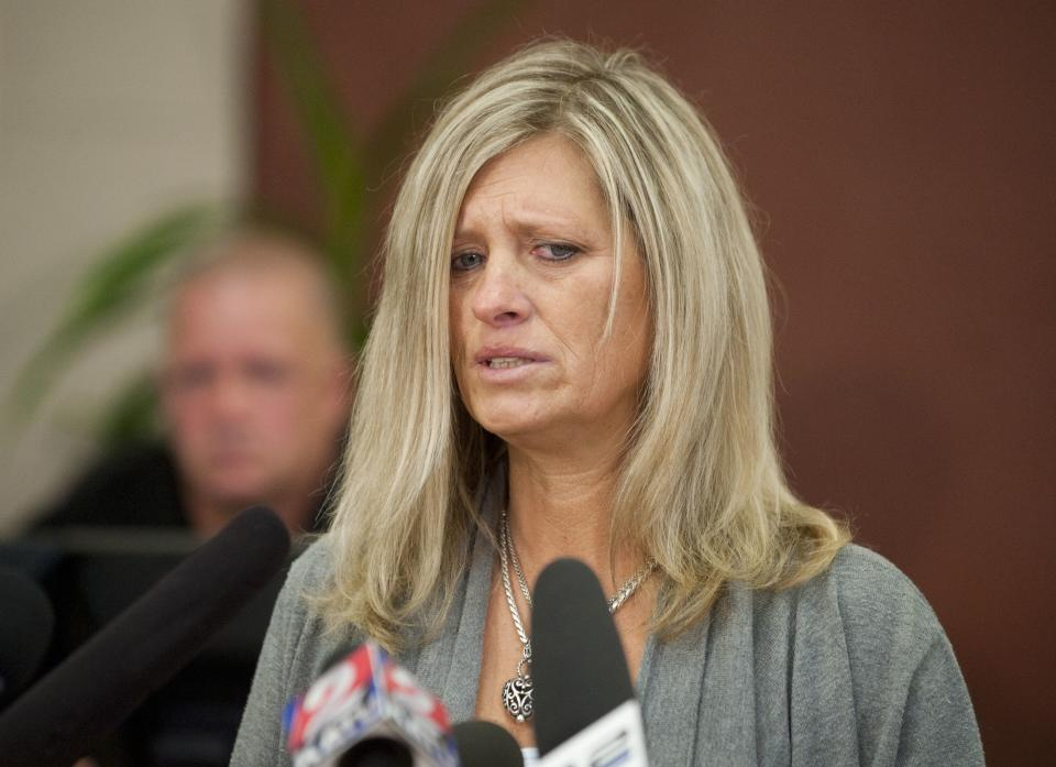 Lorilei Ritmiller, mother of Whitney Heichel, 21, Gresham,  who is the subject of a suspicious disappearance case in Gresham speaks at a press conference in the council chambers for the City of Gresham Thursday Oct. 18, 2012.  (AP Photo/Brent Wojahn, The Oregonian)