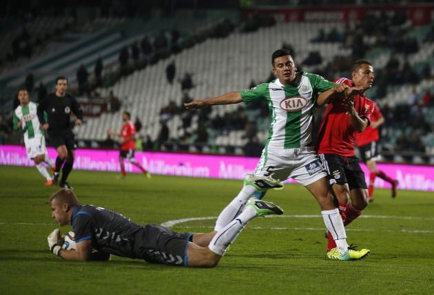 Vitoria Setubal's Kieszek secures the ball against Benfica during their Portuguese Premier League soccer match in Setubal