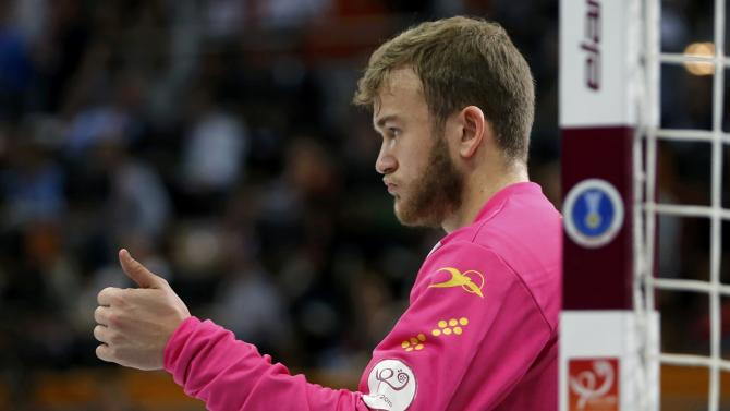 Goalkeeper Perez de Vargas of Spain reacts during their semi-final match of the 24th Men's Handball World Championship against France in Doha