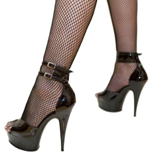Heels and fishnet stockings.