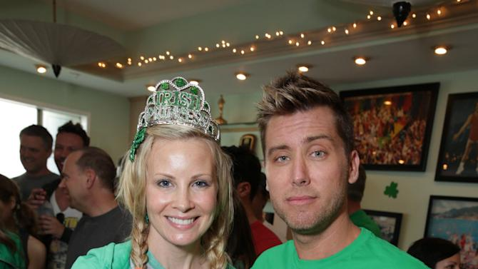 Monica Potter and Lance Bass at St. Patty's Day Slimdown benefiting the Lollipop Theatre Network held at Slimmons on Sunday, Mar., 17, 2013 in Beverly Hills, CA. (Photo by Eric Charbonneau/Invision for Lollipop Theatre Network/AP Images)