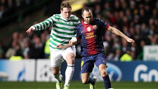 Kris Commons, left, played in Celtic's 2-1 win over Barcelona last season